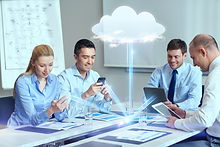business, people, cloud computing and te