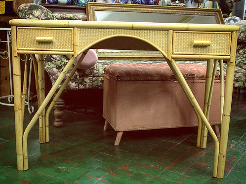 Wicker Cane Dressing Table with Glass Top/2 drawers