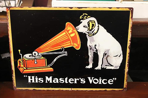 His Masters Voice reproduction metal sign.