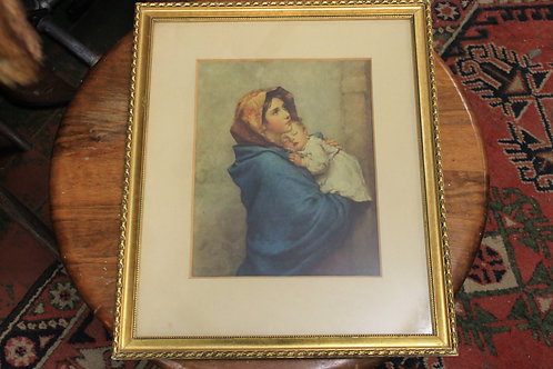 Virgin and infant picture with Gold Colored Frame