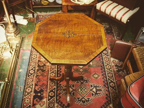 Inlaid mahogany hexagonal table.