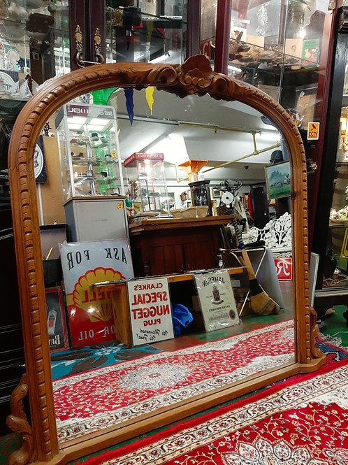 Antique Pine overmantel mirror.
