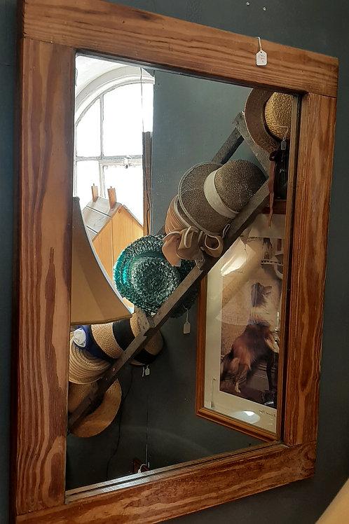 Heavy pine mirror
