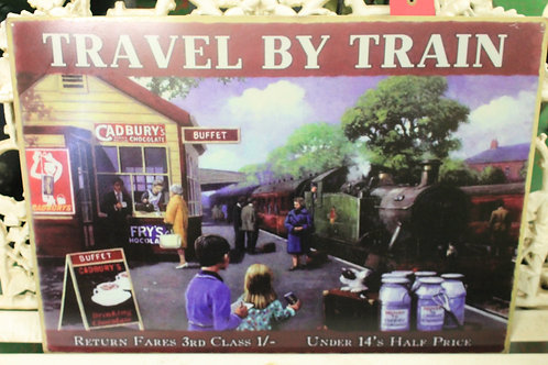 Travel by Train (Reproduction Metal Sign)