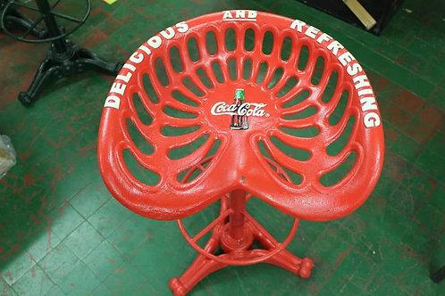 Coca Cola cast iron swivel chair.