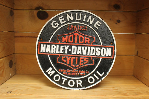 Harley Davidson cast iron sign.