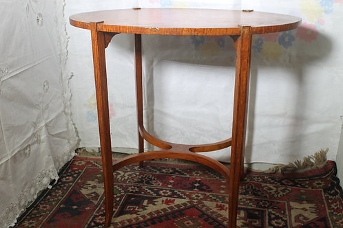 Mahogany Oval table with painted floral insert.