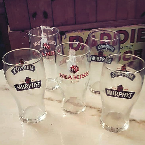 3 Murphy's and 2 Beamish Pint Glasses