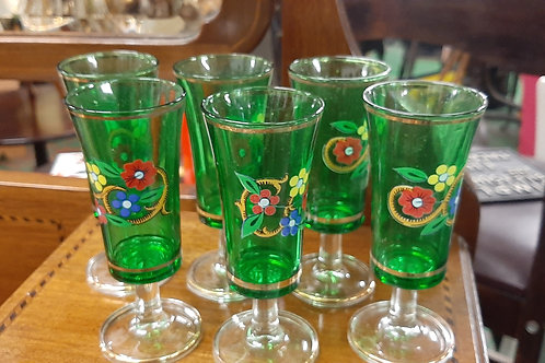 Green Italian vintage Sherry glasses x 6