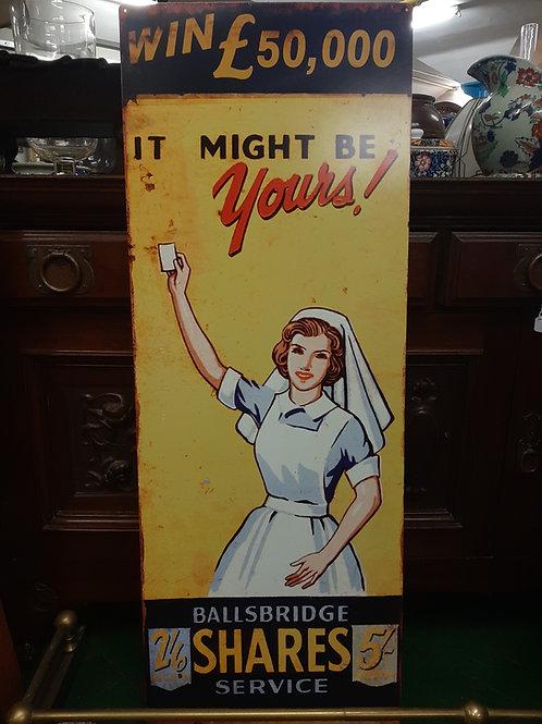 Large metal ballsbridge shares service sign (Reproduction)