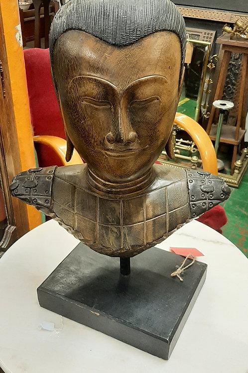 Wooden/resin warrior head.