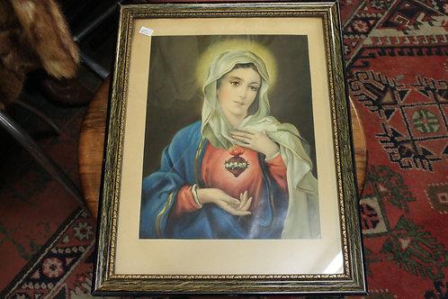 Vintage glass framed virgin Mary