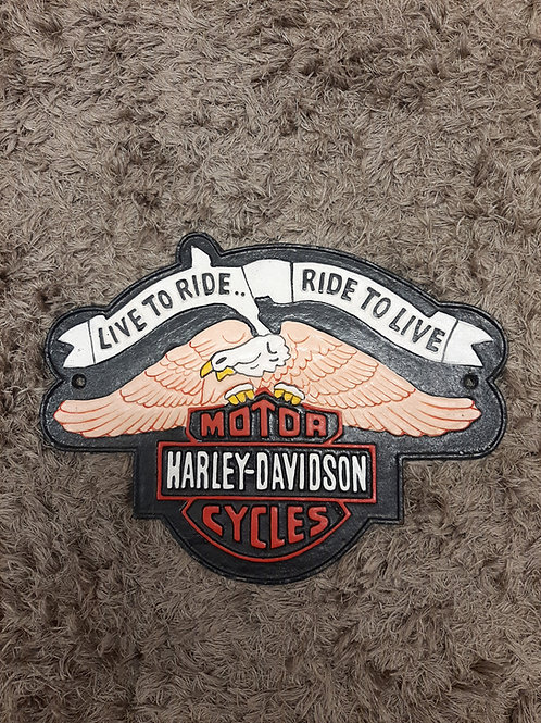 Cast iron Harley Davidson sign (reproduction)