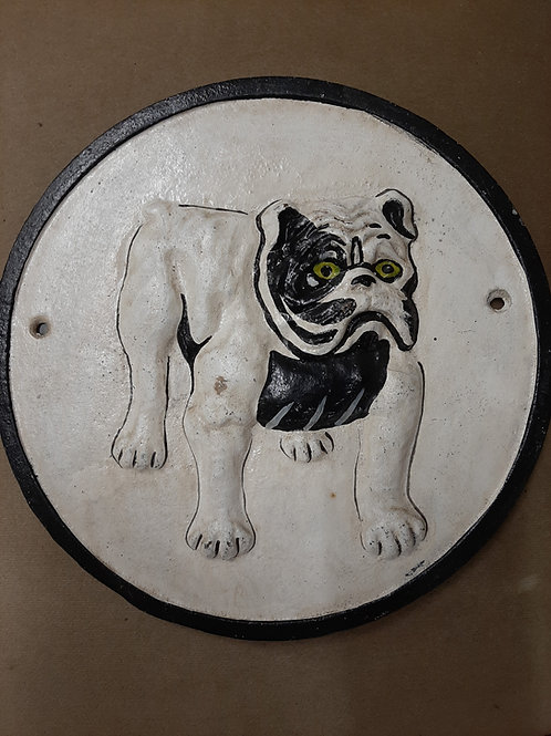 Cast iron circular bulldog sign.