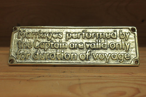Duration of voyage brass sign.