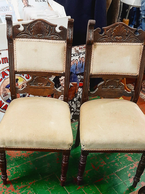 2 Vintage Solid oak chairs.
