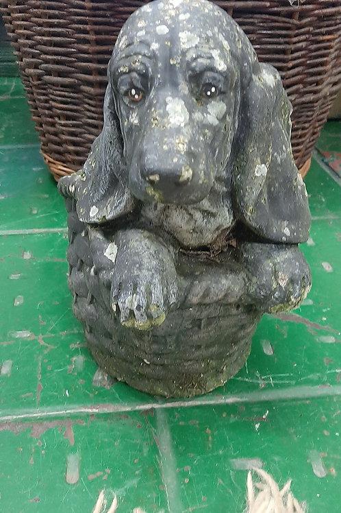 Stone Dog in basket (Vintage)