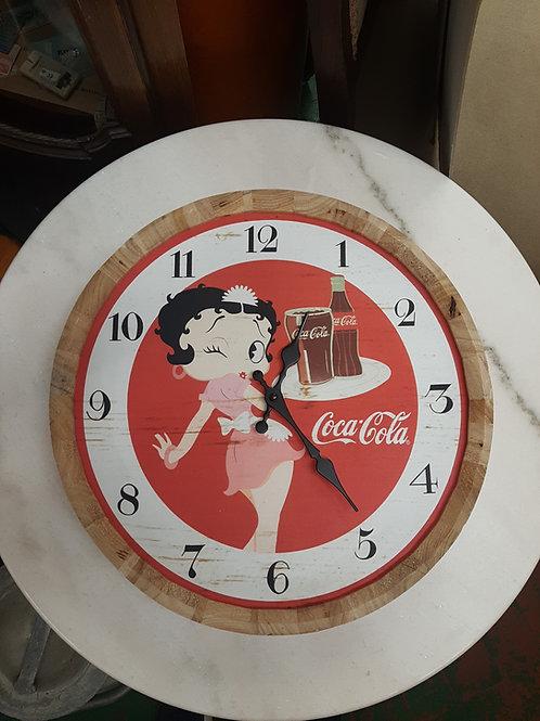 Betty boop wooden barrell top clock
