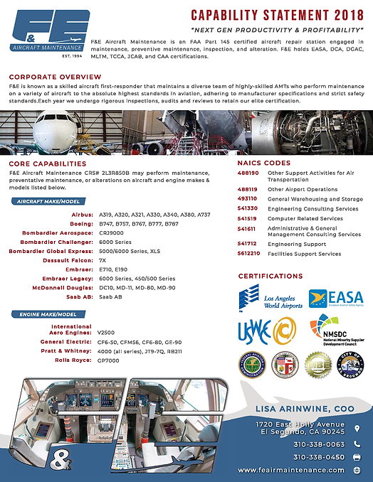 F&E Aircraft Maintenance Capabilities St
