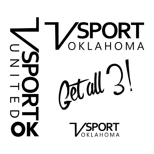 V Sport Oklahoma Decal Trio - 1 Color Version