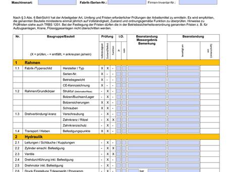 digitalisierte Prüfprotokolle nach §3 Abs 6 BetrSichV verfügbar