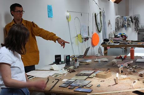 Corrie's desk at Scottish Sculpture Work