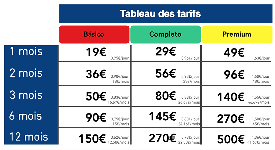 Tableau des tarifs