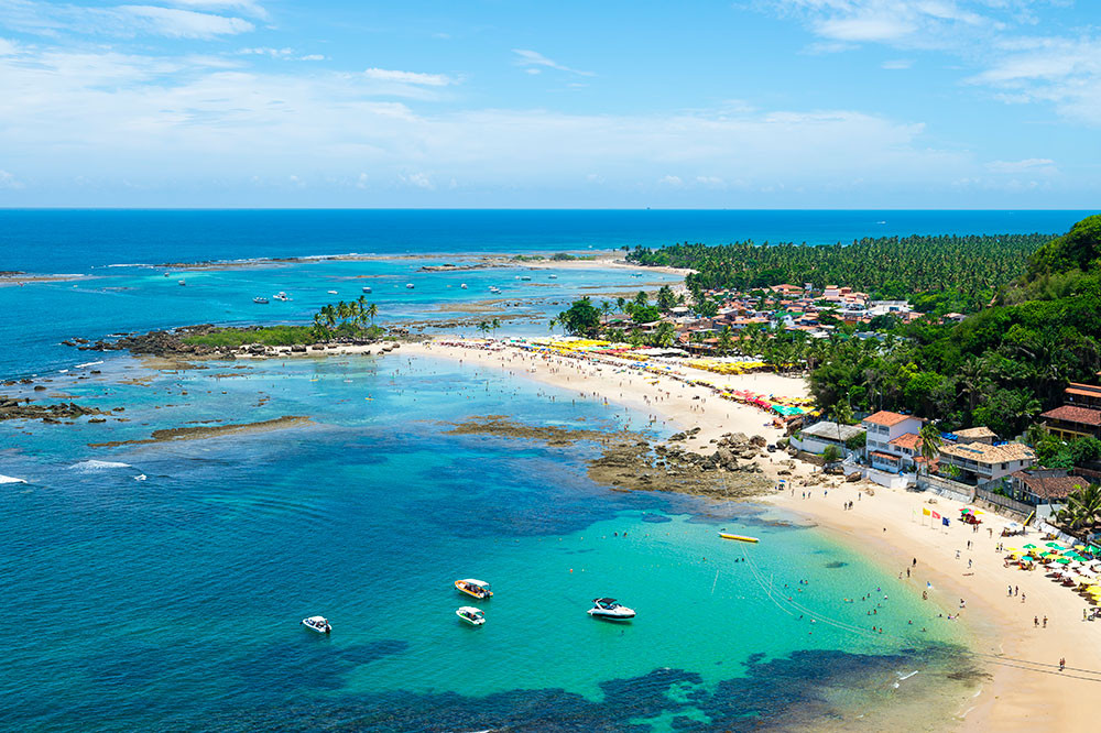 View of the village on the beaches and endless coconut palms