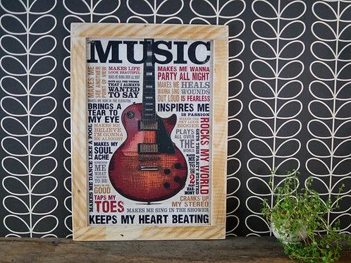 Cadre en bois, music