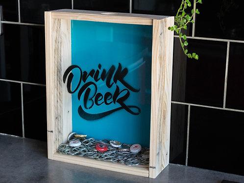 """Boite à bouchons """"Drink beer"""", cadre décoratif"""
