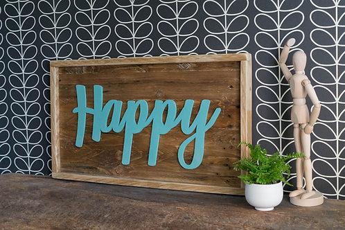Cadres décoratif, cadre en bois, Happy