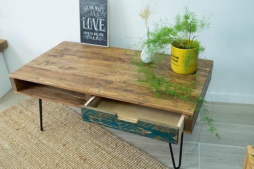 Table basse en bois recyclé, tiroir motif chevrons