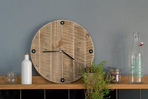 Horloge ronde en bois, silencieuse
