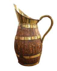 WOOD AND BRASS PITCHER