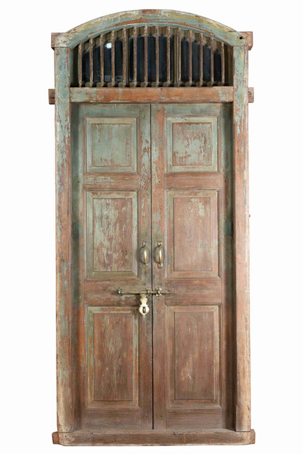 WOOD DOOR WITH IRON TRANSOM