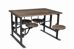 FOUR SEATER IRON AND WOOD TABLE