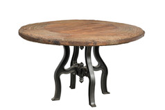 ROUND IRON AND WOOD TABLE