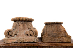 NATURAL CARVED CANDLE STANDS
