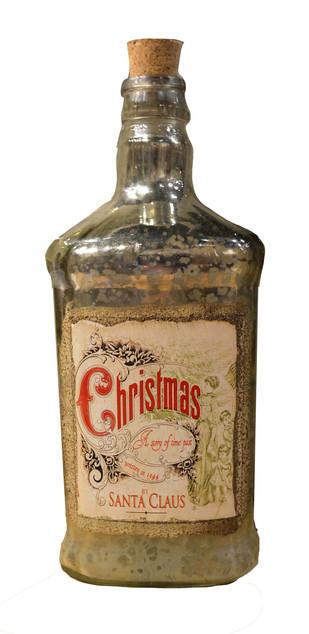 MERCURY GLASS CHRISTMAS BOTTLE