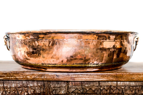 COPPER BOWL WITH HANDLES