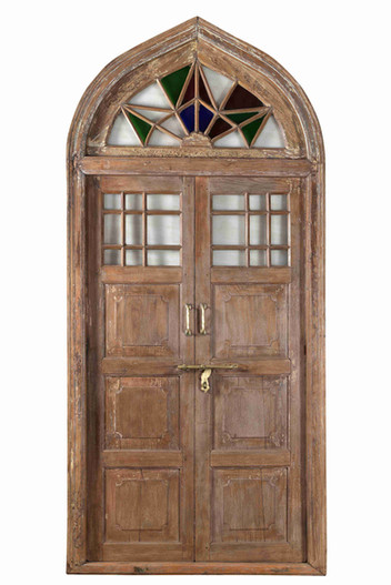 WOOD DOOR WITH ARCHED TRANSOM