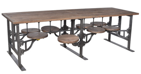 EIGHT SEATER IRON AND WOOD TABLE