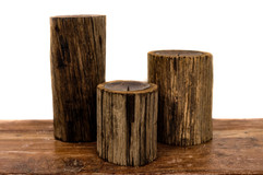WOOD LOG CANDLE STANDS
