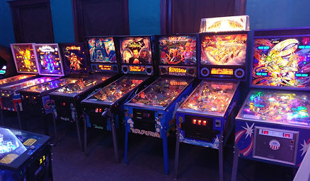 Pinball machines: Star Race, Whitewate, Road Show, The Shadow, Mystery Castle, Voltan