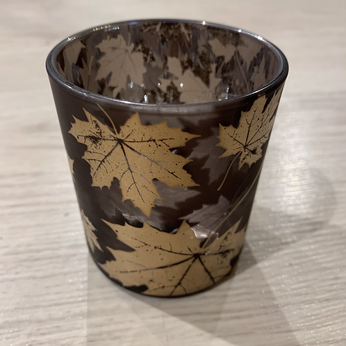 Teelichthalter mit Goldene Blätter