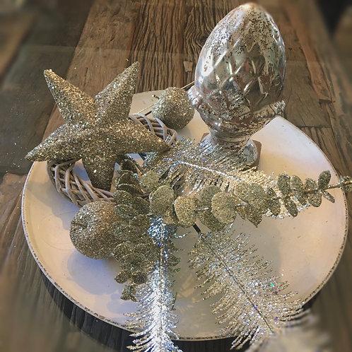 Glitterzweige 2er Set Farn und Eucalyptus  in Champagnerfarben