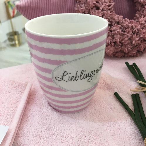 """Henkelbecher Motiv """"Lieblingsmensch"""" rosa"""