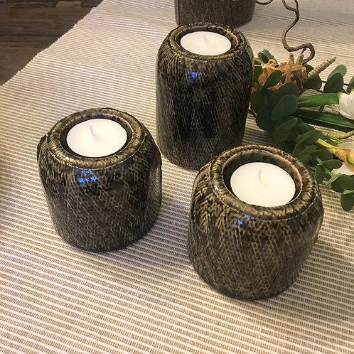 Teelichthalter Keramik Olivgrün