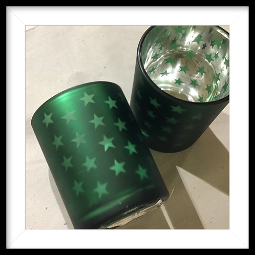 Teelichthalter Grüne Sterne