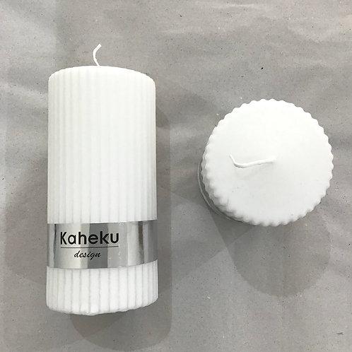 Rillenkerze 'Powder' - Weiß